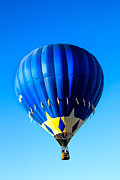 Balloon Aircraft Prints - Blue And Starred Hot Air Balloon Print by Robert Bales