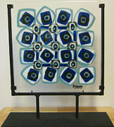 Pattern Glass Art - Blue and White Design by Mary  Knapp