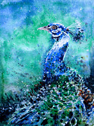 Zaira Dzhaubaeva Prints - Blue-and-White Peafowl Print by Zaira Dzhaubaeva