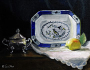Interior Still Life Paintings - Blue and White Platter with lemon by Sarah Parks