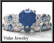 14k Jewelry - Blue And White Sapphire 14k Wedding Ring And Engagement Ring Set by Roi Avidar