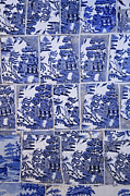 Tiling Prints - Blue and white tiling at Junagarh Fort at Bikaner in India Print by Robert Preston
