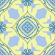 Graphics Tapestries - Textiles - Blue and Yellow Bohemian Design by Savvycreative Designs