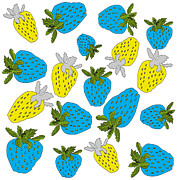 Strawberries Digital Art - Blue and yellow strawberries by Birgit Schlegel