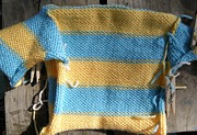 Baby Tapestries - Textiles - Blue and Yellow Striped Baby Sweater by Megan Brandl