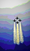 Ww Ii Framed Prints - Blue Angels Abstract Framed Print by F Leblanc