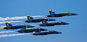 Flight Formation Photos - Blue Angels by Adam Romanowicz