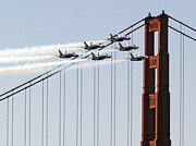 Bill Gallagher Photo Framed Prints - Blue Angels and the Bridge Framed Print by Bill Gallagher