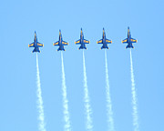 Blue Angels Framed Prints - Blue Angels Reaching New Heights Framed Print by Wingsdomain Art and Photography