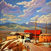 Roofs Paintings - Blue Apache by Art West