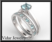 14k Jewelry - Blue Aquamarine And Diamond 14k Wedding Ring And Engagement Ring Set by Roi Avidar