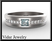 Featured Jewelry - Blue Aquamarine And Diamond 14kt White Gold Mens Wedding Ring by Roi Avidar