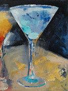 Olive Oil Posters - Blue Art Martini Poster by Michael Creese