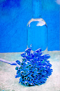 Glass Bottle Mixed Media Posters - Blue atmosphere Poster by Rosi Lorz