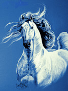 White Horses Mixed Media Prints - Blue Attitude Print by Cheryl Poland