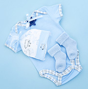 Cap Acrylic Prints - Blue baby clothes for infant boy Acrylic Print by Elena Elisseeva