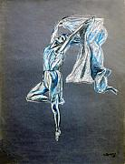 Dancer Art Pastels Prints - Blue Ballerina Print by Tom Conway