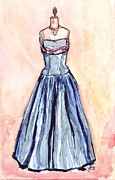 Ballgown Prints - Blue Ballgown Dress Print by Johanna Pabst