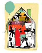 Stripes Mixed Media Prints - Blue Balloon Print by Linda Woods