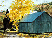 Old Barns Prints - Blue Barn Print by Barbara Jewell