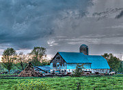 Barn Storm Prints - Blue Barn Print by Bianca Nadeau