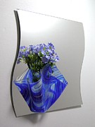Hand Made Glass Art - Blue Baroque Sconce by Margie Minichiello
