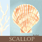 Seashell Art Prints - Blue Beach 703 - Liz Revit Print by Liz Revit