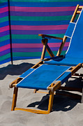 Empty Chairs Posters - Blue Beach Chair Poster by Art Block Collections