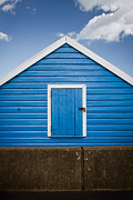 Dayne Prints - Blue Beach Hut Print by Dayne Reast