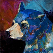 Surrealistic Paintings - Blue Bear II by Bob Coonts