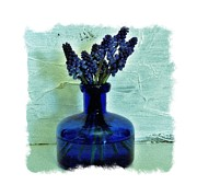 Blue Flowers Posters - Blue Bells on Green Poster by Marsha Heiken