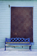 Bench Photo Metal Prints - Blue Bench Metal Print by Priska Wettstein
