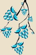 Digital Decor Digital Art - Blue Berries Branch by Anastasiya Malakhova