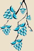 Blue Berries Branch Print by Anastasiya Malakhova