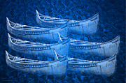 Huron Indian Art - Blue Birch Bark Canoes by LeeAnn McLaneGoetz McLaneGoetzStudioLLCcom