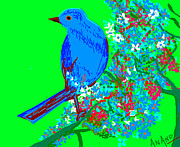 Blue Bird And Flowers Print by Anand Swaroop Manchiraju