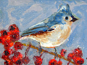 Snow Greeting Cards Prints - Blue Bird in Winter - Tuft titmouse Print by Patricia Awapara
