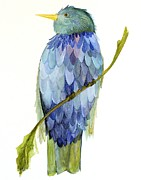 On A Branch Paintings - Blue Bird by Laurie Rohner