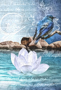 Lotus Pond Prints - Blue Bird Print by Mo T