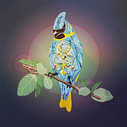 Blue Jay Digital Art - Blue Bird by Disko Galerie