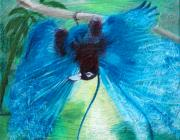 Exotic Bird Paintings - Blue Bird of Paradise by Anne Cameron Cutri