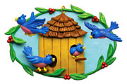Clay Sculpture Posters - Blue Birds fly Home Poster by Amy Vangsgard