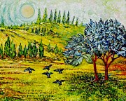 Trees Sculpture Prints - Blue Birds Print by Gunter E  Hortz