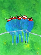 Karyn Robinson Metal Prints - Blue Birds Metal Print by Karyn Robinson