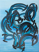 Attachment Paintings - Blue Black Dance by Agnes Roman