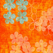 Hotel-room Mixed Media Prints - Blue Blossom on Orange Print by Linda Woods