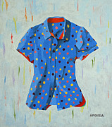 Apparel Framed Prints - Blue Blouse With Dots Framed Print by Donald Amorosa