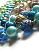 Jewelry Greeting Cards Photos - Blue Bobbles by Natalie Hawkins
