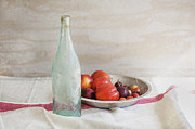 Wine-bottle Posters - Blue Bottle and Fresh Fruit Poster by Rich Franco