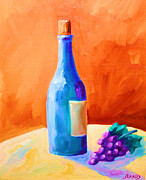 Wine Glass Paintings - Blue bottle by Todd Bandy